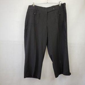 Lane Bryant Black White Pin Crop Pants Size 18